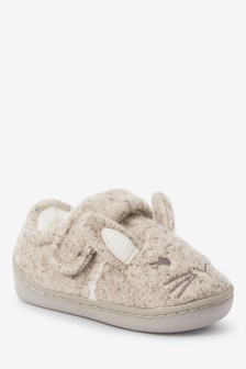 Grey Bunny Cupsole Slippers (Younger)