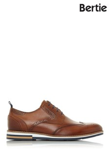 Bertie Blackheath Tan Leather Wedge Sole Brogue Shoes