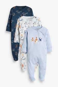 Navy 3 Pack Fox Character Sleepsuits (0mths-2yrs)