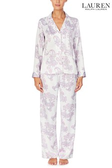 Lauren Ralph Lauren® Purple Satin Long Sleeve Notch Collar Pyjama Set