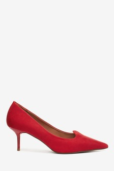 Red Kitten Heel Court Shoes