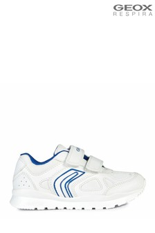 Geox Junior Unisex Pavel White/Blue Velcro Sneakers