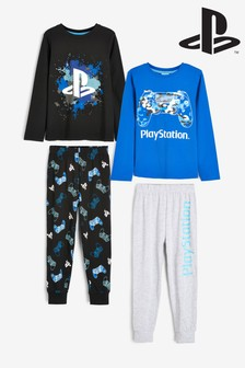 Blue/Black 2 Pack PlayStation™ Pyjamas (3-16yrs)