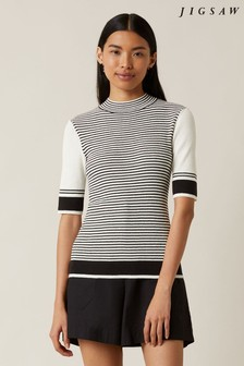 Jigsaw Natural Striped Turtle Neck Jumper