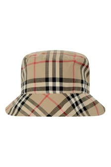 Burberry Kids Baby Beige Vintage Check Cotton Hat