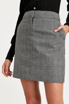 Grey Check Textured Mini Skirt