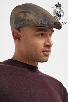 Khaki/Brown Check Christys' London Flat Cap