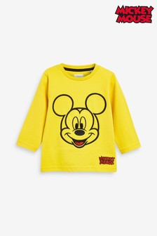 Yellow Long Sleeve Jersey Embroidered Mickey Mouse™ T-Shirt (3mths-8yrs)