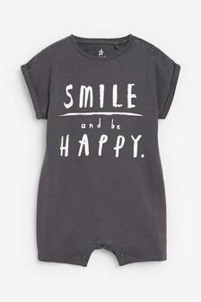 Charcoal Smile Slogan Romper (0mths-3yrs)