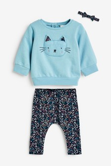 Teal Character/Floral Sweat Top, Leggings And Headband Set (0mths-2yrs)