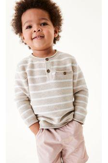 Ecru Stripe Henley Button Neck Jumper (3mths-7yrs)