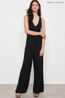 Mint Velvet Black Back Strap Wide Leg Jumpsuit