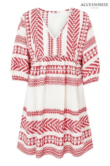 Accessorize Red Long Sleeved Jacquard Dress