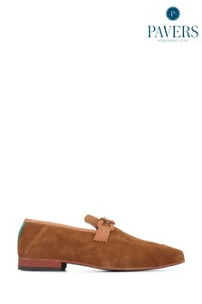 Pavers Brown Suede Leather Men's Slip-On Loafers