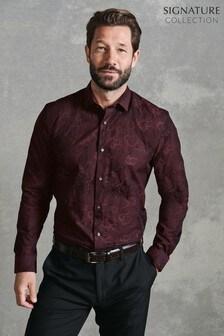 Burgundy Regular Fit Floral Jacquard Shirt