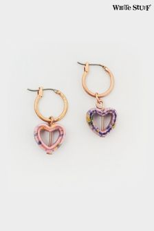 White Stuff Ceramic Heart Hoop Earrings