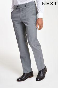 Light Grey Regular Fit Stretch Formal Trousers