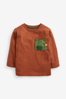 Rust Crocodile Pocket Long Sleeve T-Shirt (3mths-7yrs)