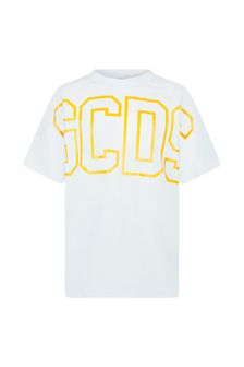 Kids White Cotton Fluorescent Logo T-Shirt