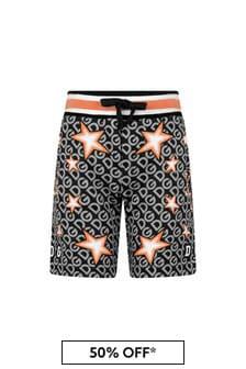 Boys Black Cotton Stars Print Shorts