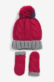 Red/Grey 2 Piece Hat And Gloves Set (Younger)