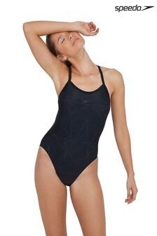 Speedo Black Boomstar Allover Turnback Swimsuit