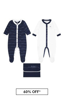 Boys Navy Cotton Logo Babygrow Set