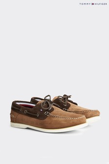 Tommy Hilfiger Brown Classic Suede Boat Shoes