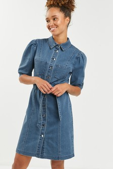 Mid Blue Puff Sleeve Fitted Denim Dress