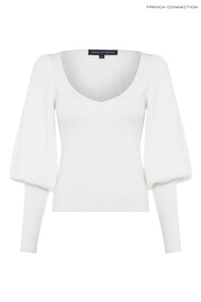 French Connection Cream Joss Knits Puff Sleeve Jumper