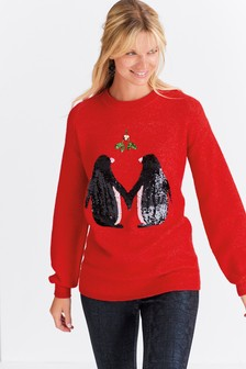 Red/Black Womens Christmas Jumper