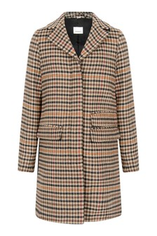 Girls Camel Check Wool Coat
