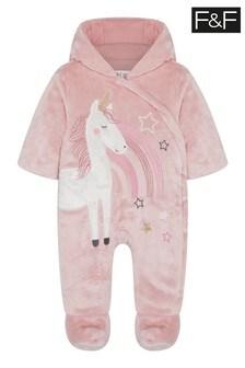 F&F Pink Pink Novelty Unicorn Appliqué Pramsuit