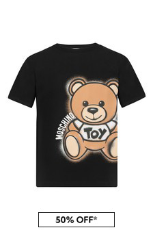 Moschino Kids Boys Black Cotton T-Shirt