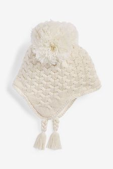 Ecru Double Pom Cable Trapper Hat (0mths-2yrs)
