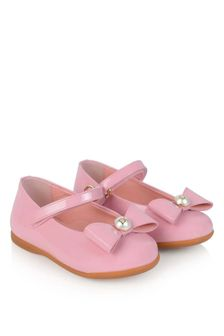 Girls Pink Patent Leather Bow Shoes