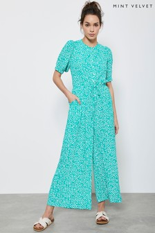Mint Velvet Teal/Blue Verity Puff Sleeve Jumpsuit