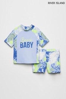 River Island Blue Palm Print Rash Vest And Shorts Set