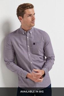 White/Burgundy/Navy Slim Fit Gingham Long Sleeve Stretch Oxford Shirt