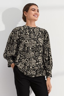 Paisley Print Puff Long Sleeve Top
