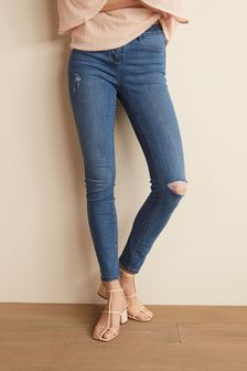 Mid Blue Ripped Power Stretch Denim Leggings
