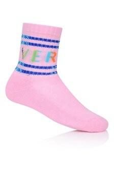 Girls Pink & Multicoloured Logo Socks