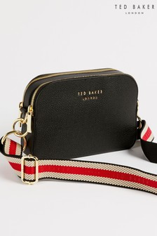 Ted Baker Black Amerrah Leather Webbing Strap Camera Bag