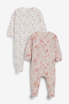 Pink 2 Pack Floral Zip Sleepsuits (0mths-2yrs)