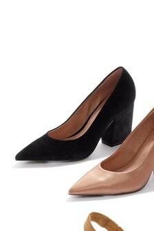 Black Leather Block Heel Courts