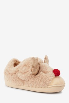 Tan Reindeer Cupsole Slippers (Younger)