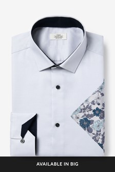 Grey Cotton Slim Fit Single Cuff Shirt And Floral Pocket Square Set