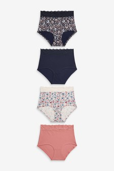 Navy/Pink/Floral Print Full Brief Lace Trim Cotton Blend Knickers 4 Pack