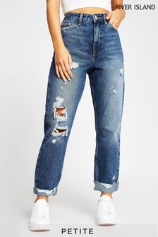 River Island Petite Denim Medium Carrie Ripped Pedal Jeans