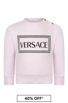 Baby Girls Pink Cotton Logo Sweater